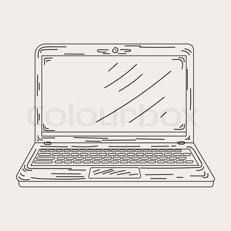 Sketch an open laptop in vector      | Stock vector | Colourbox