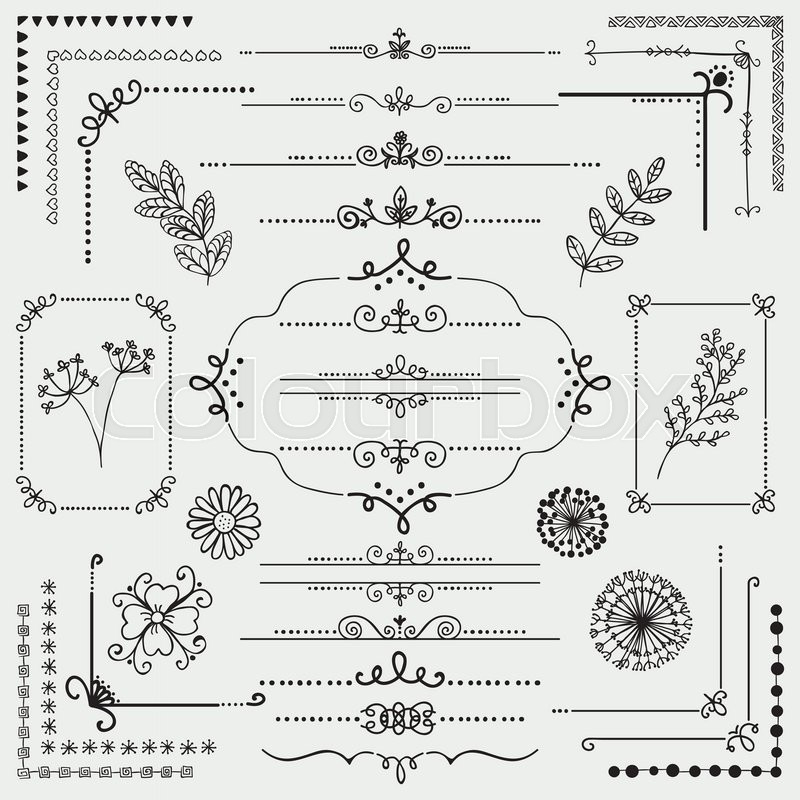 Stock Vector Of Decorative Black Hand Sketched Rustic Floral Doodle Corners Branches Frames