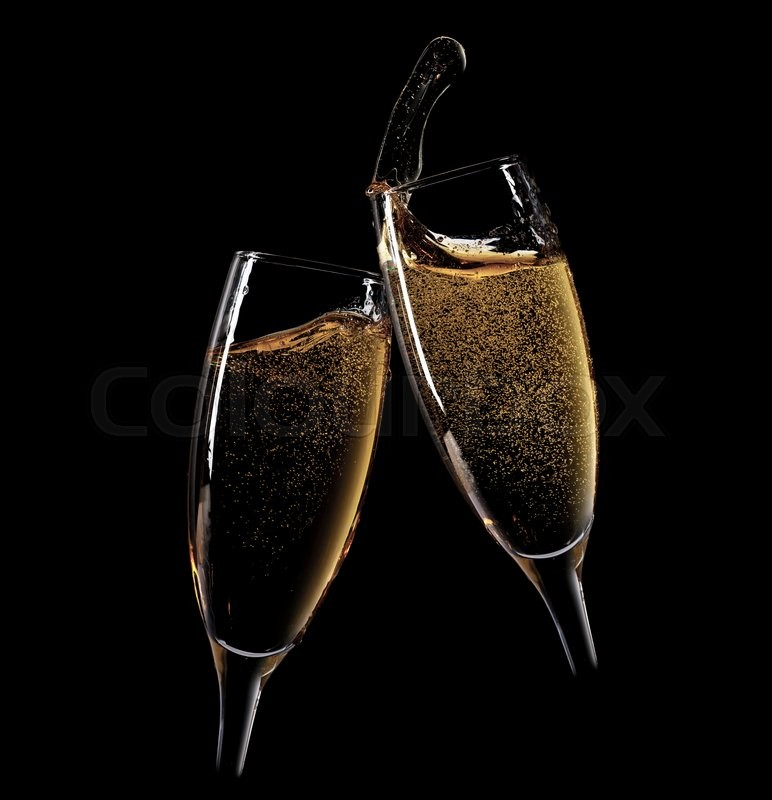 cheers two champagne glasses isolated on black background stock