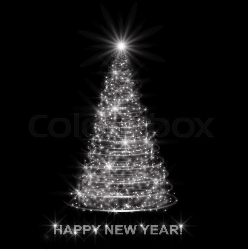 silver christmas tree on black background stock vector colourbox