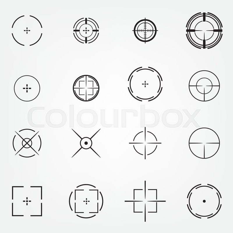 Crosshair Icons Set For Computer Games Shooters Or Original Mouse