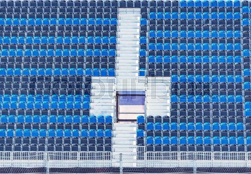 Empty Tribune Of The Soccer Stadium Stock Photo