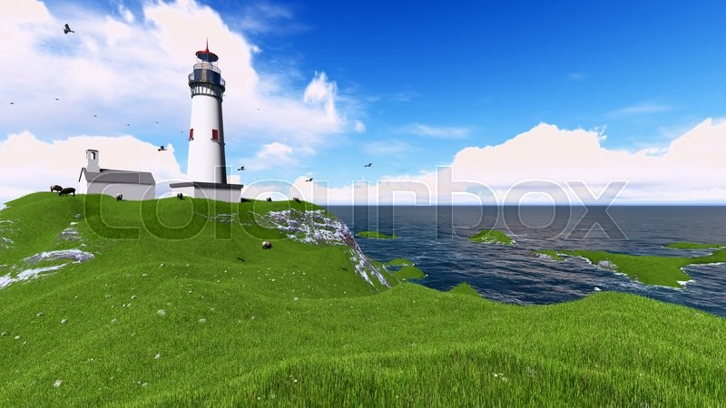Stock image of '3d rendering famous lighthouse in westerhever, North Sea'