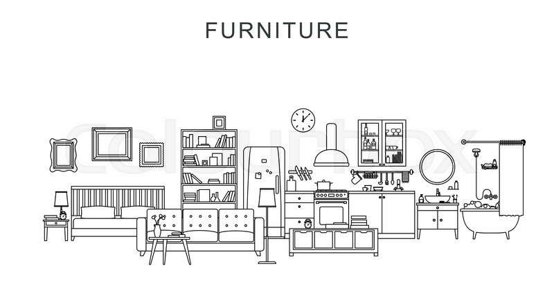 Vector Line Illustration Of Furniture And Home Decoration. | Stock Vector |  Colourbox