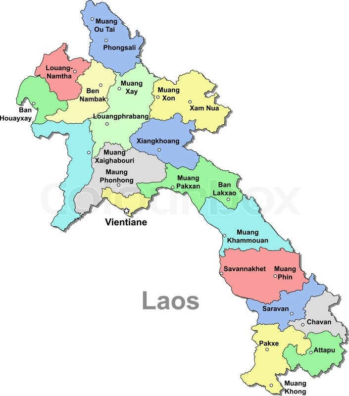 Laos map | Stock Vector | Colourbox