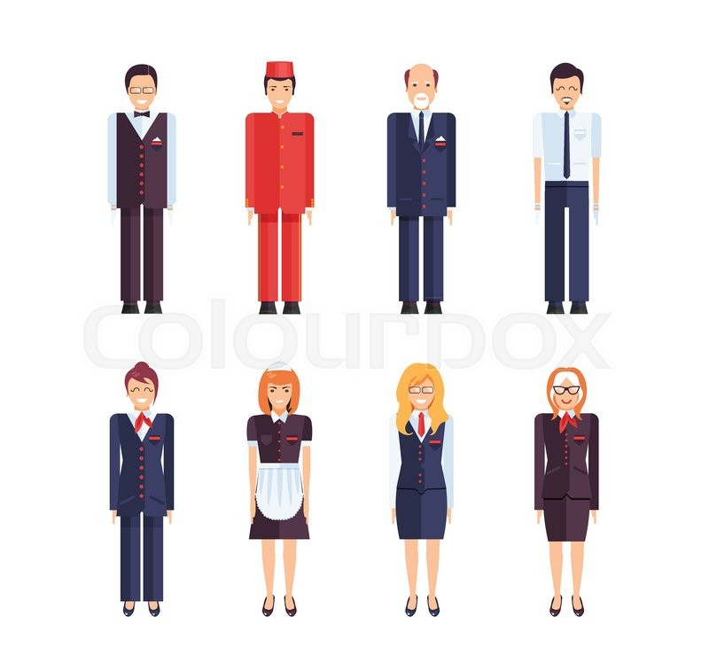 Stock Vector Of Set Isolated Characters Hotel Staff Administrator
