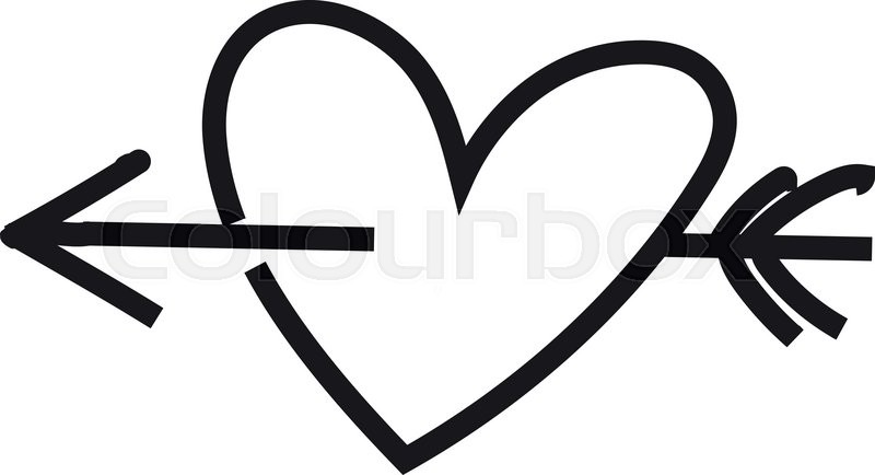 heart sketch heart heart and arrow just black and white heart rh colourbox com hearts with arrow clip art black and white black heart with arrow clip art