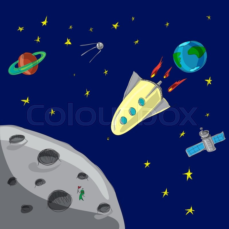 Image result for cartoon stars and rocket