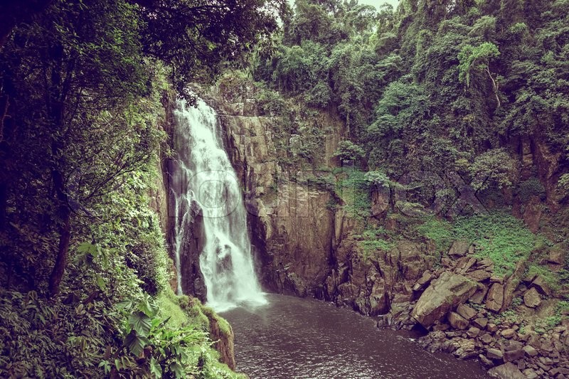 Landscape of waterfall in the rainforest, vintage effect, stock photo