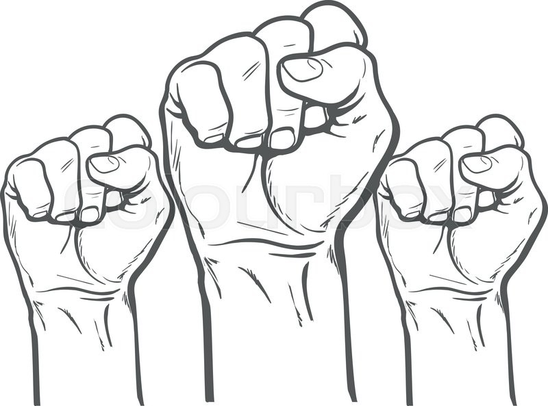 Raised Fist Strong Fist On A White Background Mans Hand