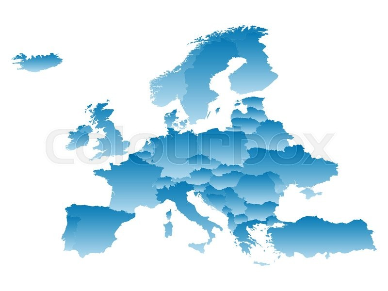 Map Europe on a white background Stock Vector Colourbox