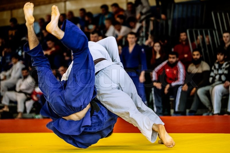 Fighter judo throw for IPPON in competition judo, stock photo