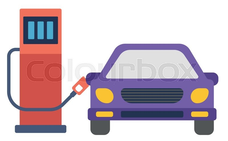 Car At Gas Station Being Filled With Fuel Vector Flat