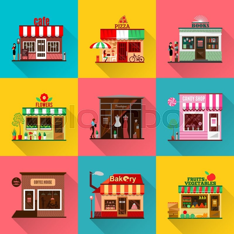Set of flat shop building facades icons vector for Online art stores us