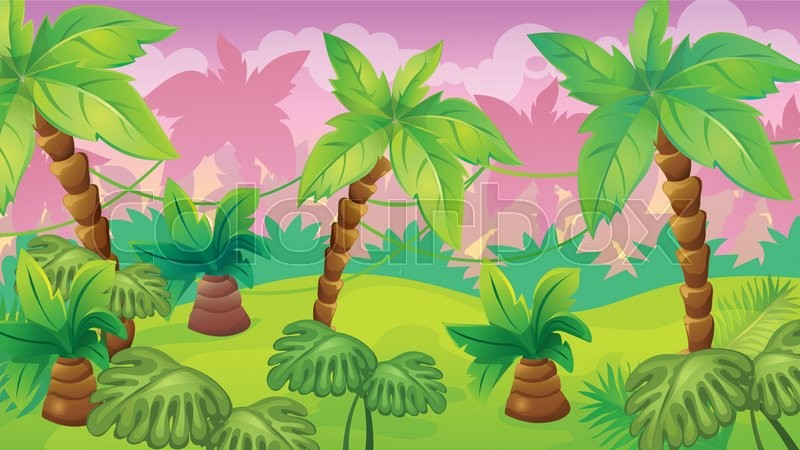 vector seamless cartoon game background of jungle landscape with rh colourbox com cartoon jungle pictures background cartoon jungle background vector