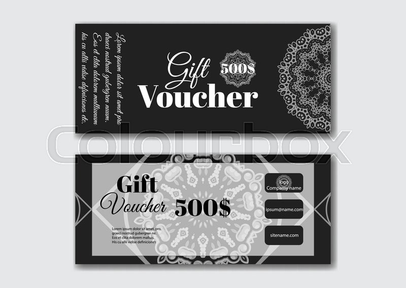 Gift voucher design templates with silver pattern with arabic ...