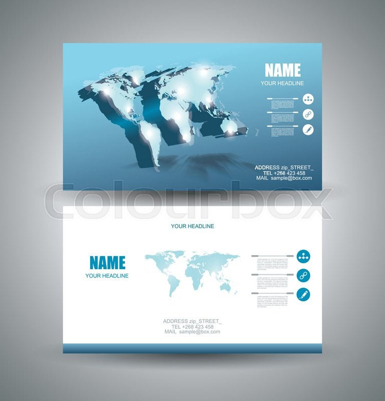 Business cards Design with 3d vector Light World map and pointer ...