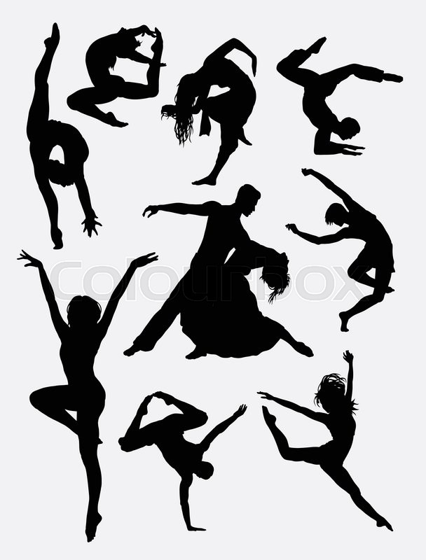 Contemporary Dance Man And Women Action Silhouette Good Use For