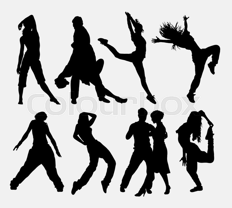 Cool Dancing 4 Man And Woman Dancer Profession Activity Silhouette