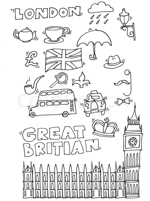 Vector Hand Drawn London Set With Elements Big Ben Clock Flag Of Great Britain Policeman Helmet Red Bus Umbrella Boots Street Light