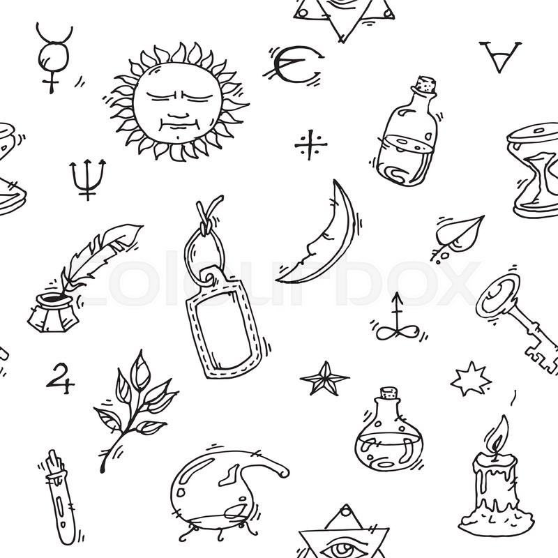 Pattern Of Trendy Vector Alchemy Symbols Collection On White