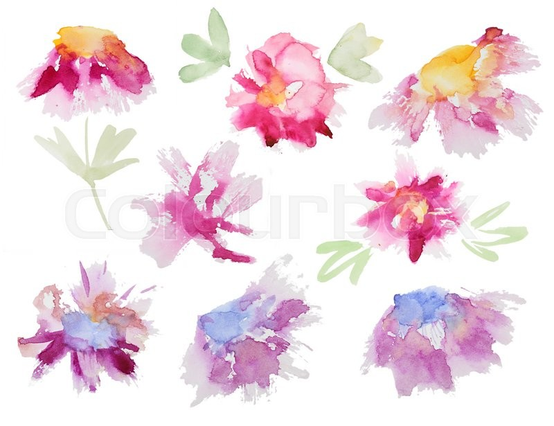 Collection Of Abstract Watercolor Flowers Set Beautiful On White Background Perfect For Wedding Invitations Greeting Cards Quotes