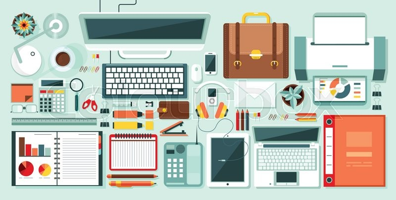 Set Stock Vector Ilration Isolated Office Supplies Gadgets Stationery On Desktop In Flat Style White Background Element Infographics Websites Icons