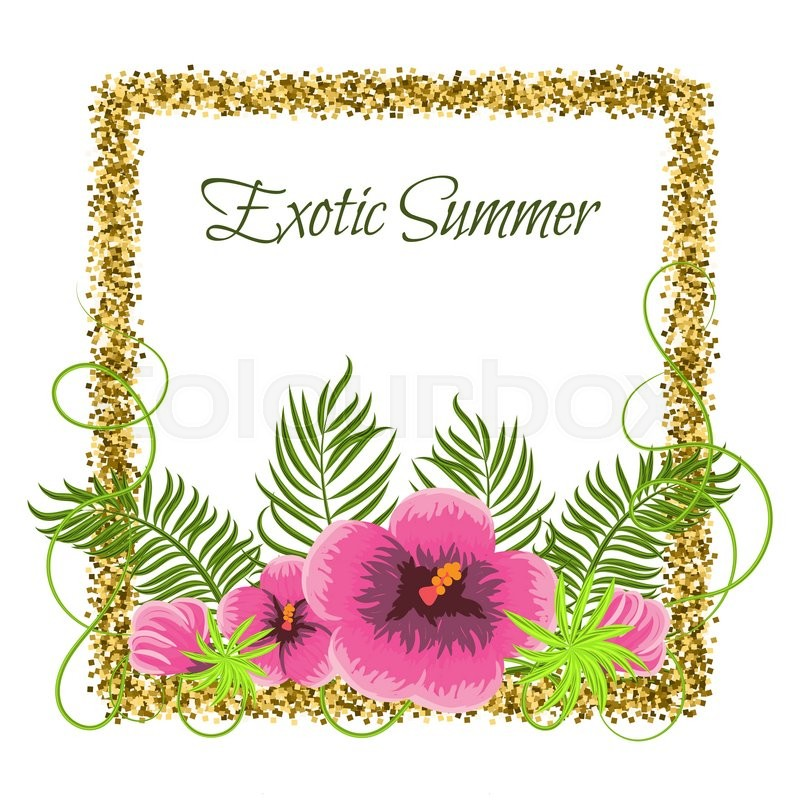 Summer tropical plants and hibiscus flowers in glitter square frame summer tropical plants and hibiscus flowers in glitter square frame exotic jungle palm leaves and branches for greeting card or invitation stock vector stopboris Image collections
