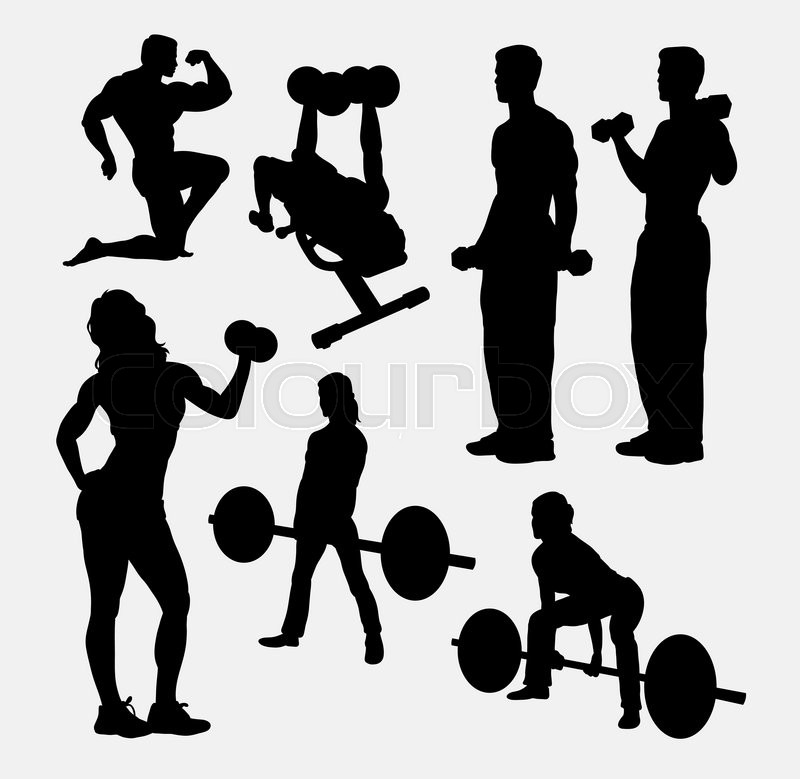 fitness male and female activity silhouette good use for symbol