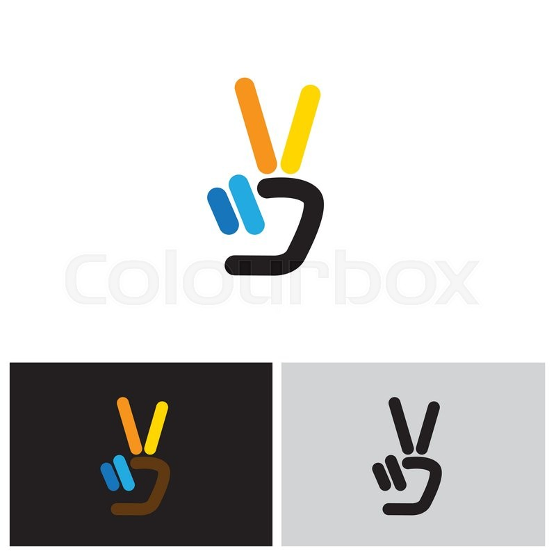 V Hand Victory Symbol Vector Logo Icon This Icon Can Also Represent