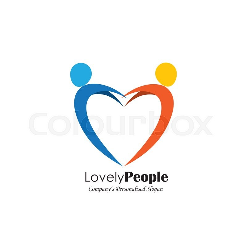 Vector Logo Icon Of Two People In Love Forming Heart Symbol Also