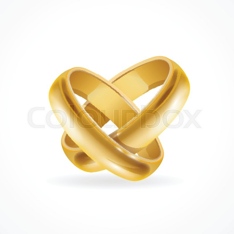 Shiny Wedding Gold Rings Symbol Of Love And Wedding Vector