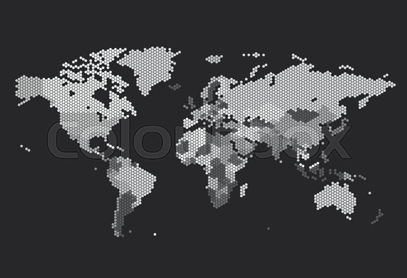 Dotted world map of hexagonal dots on dark background vector dotted world map of hexagonal dots on dark background vector illustration stock vector colourbox gumiabroncs Choice Image