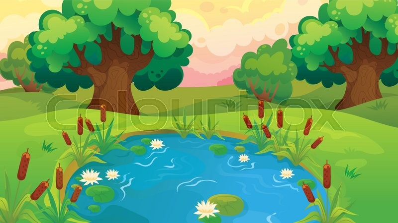 Vector cartoon game background of pond near the forest for Wallpaper suppliers near me