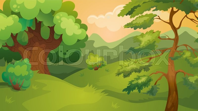 vector cartoon game background of evening forest landscape stock