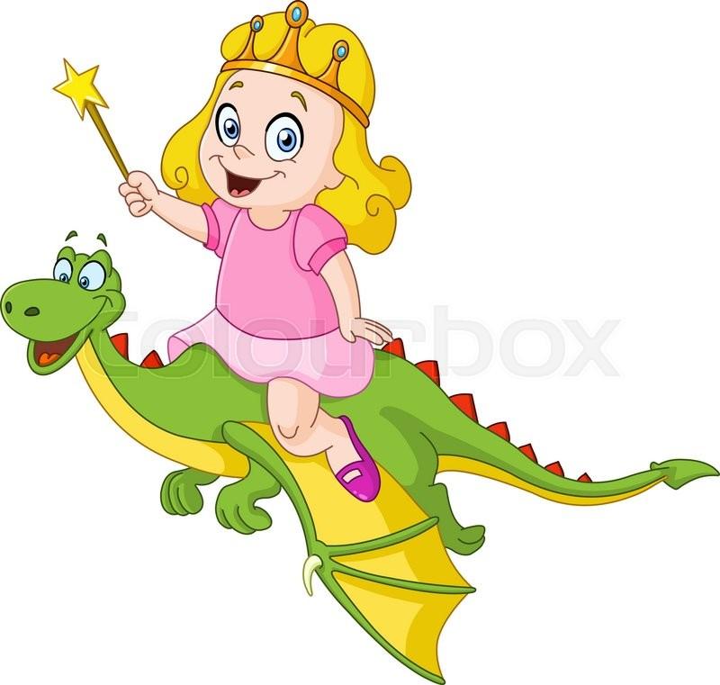 Young Princess Riding A Dragon Stock Vector Colourbox