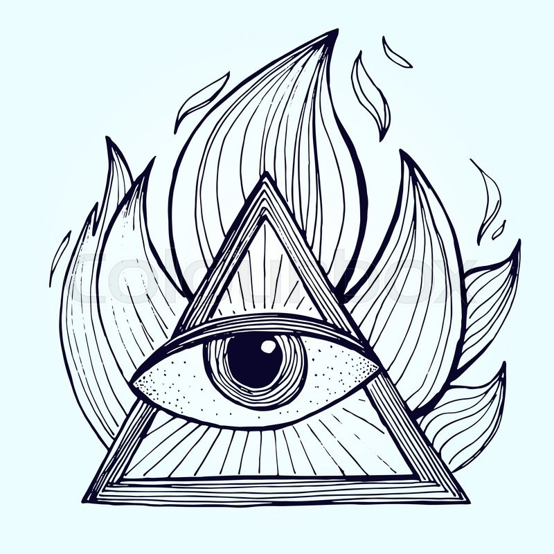 An Eye With Pyramid In Fire On Background Alchemy Masonic Symbol