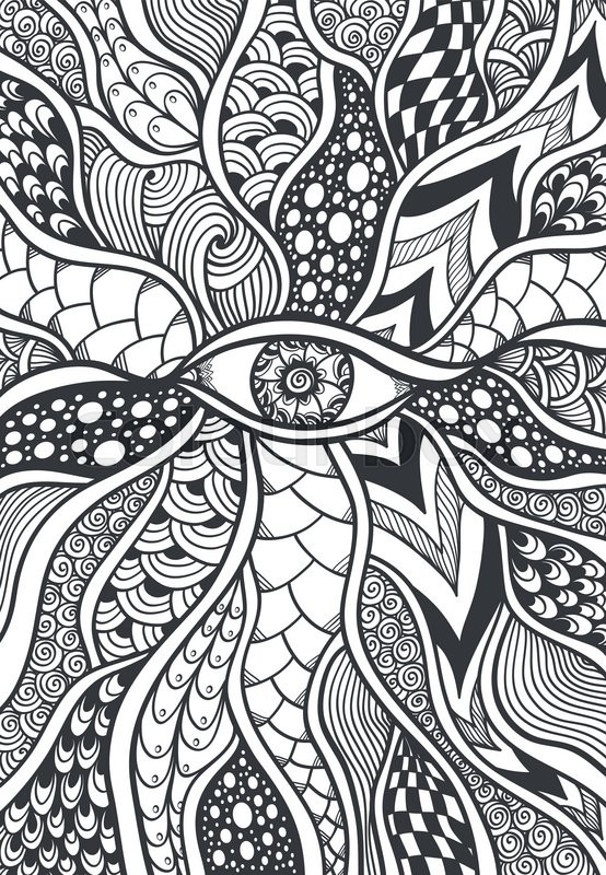 Zendoodle or Zentangle texture or pattern with eye black on white Awesome Pattern Doodle
