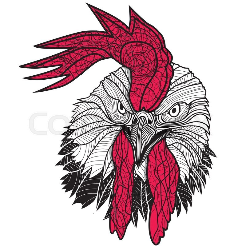 Chicken Rooster Head Design For T Shirts Isolated On White