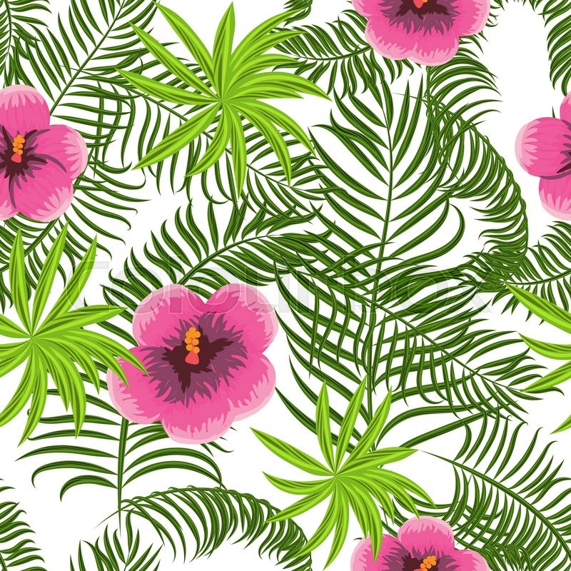 Tropical Jungle Palm Leaves And Hibiscus Vector Pattern Background