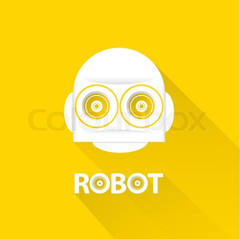 funny robot head logo design. vector robot head | stock vector