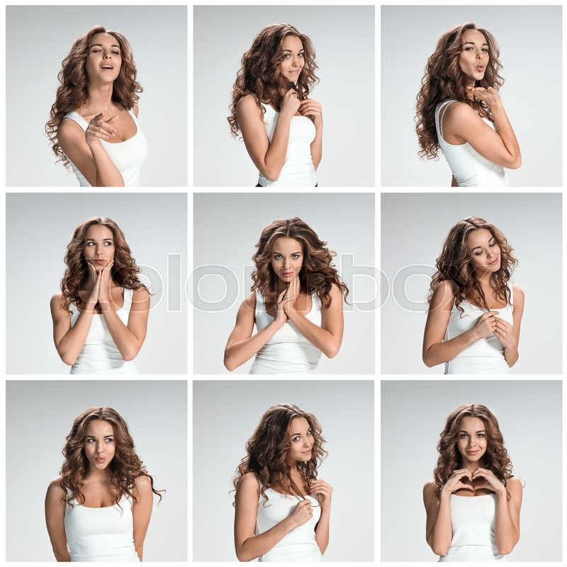 Set of young woman\'s portraits with different happy emotions on gray background, stock photo