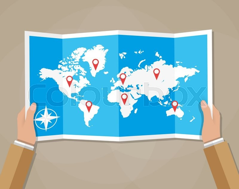 Cartoon hands hold folded paper map of world with color point cartoon hands hold folded paper map of world with color point markers world map countries vector illustration in flat design on brown background stock gumiabroncs Image collections