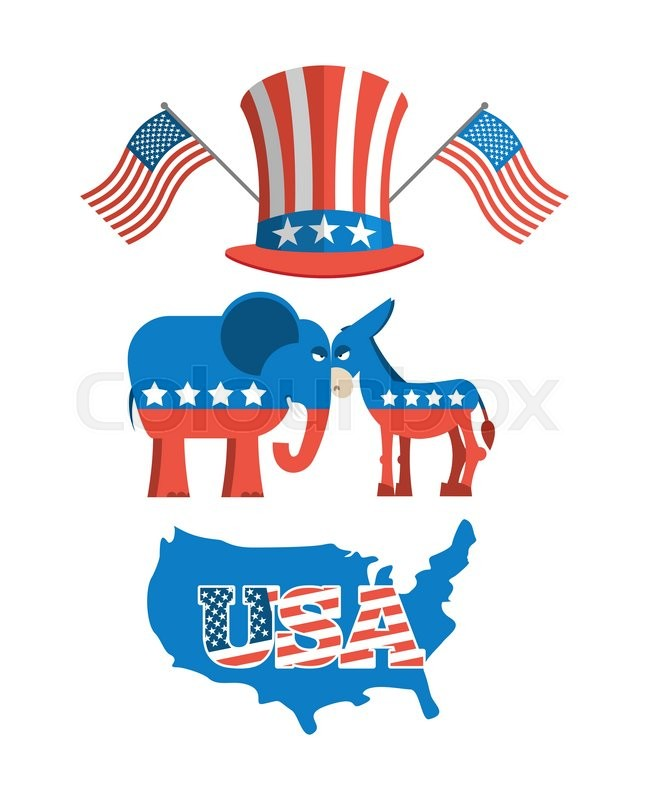 Set Political Debate In United States Us Flag Donkey And Elephant Symbols Of Political Parties In America Democrats Against Republicans Map America