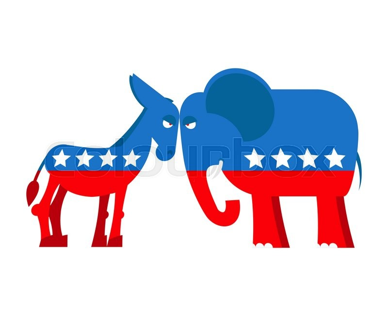 Democrat And Republican Symbol Donkey and elephant sy...