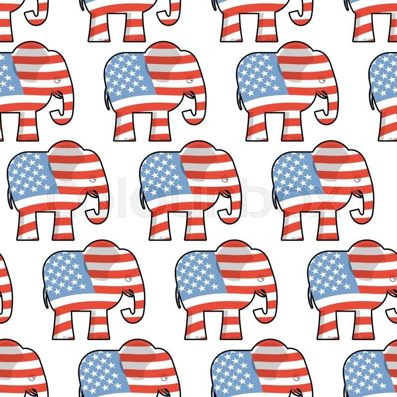 Republican Elephant Seamless Pattern Elephant Texture Symbol Of A