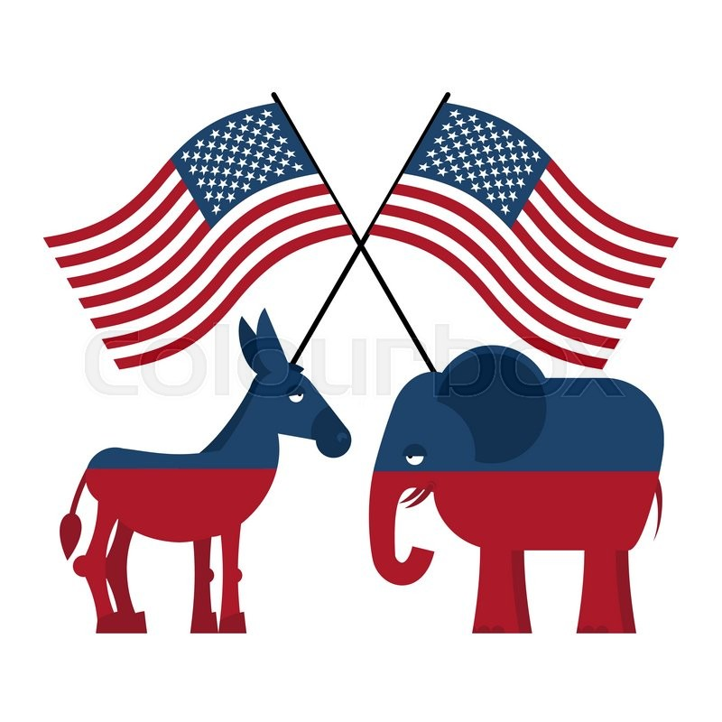 Democrat And Republican Symbol Elephant and donkey. S...