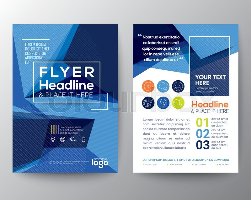 abstract blue triangle shape background for poster brochure flyer