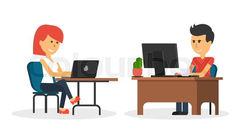 People Work In Office Design Flat Business Woman And Man