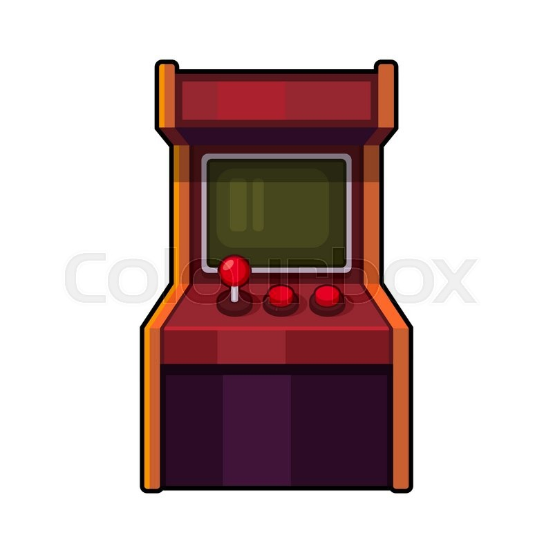 Classic Arcade Machine. Old Style Gaming Cabinet. Vector ...
